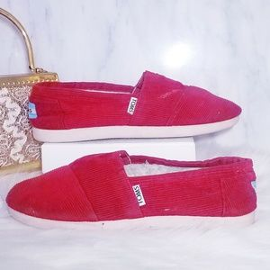 Toms Red Corduroy Youth Shoes Loafers Y 4 Kids